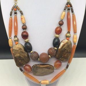 Chico's Chunky Beaded Necklace Wood Orange Boho